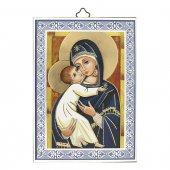 """Icona con cornice azzurra """"Maria regina dell'amore"""" - dimensioni 14x10 cm"""