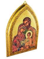 """Icona gotica in foglia oro """"Sacra Famiglia"""" - dimensioni 18,5x10,5 cm"""