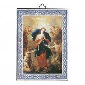 """Icona con cornice azzurra """"Maria che scioglie i nodi"""" - dimensioni 14x10 cm"""