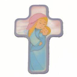 """Copertina di 'Croce magnetica piatta """"Maria con il Bambino addormentato"""" - altezza 6 cm'"""