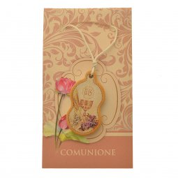 Copertina di 'Ciondolo per la comunione con laccio bianco e cartoncino'