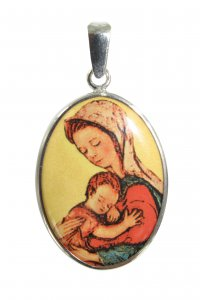 Copertina di 'Medaglia Madonna con Bambino in argento 925 e porcellana - 3 cm'
