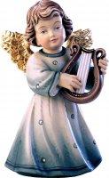 Statuina dell'angioletto con lira, linea da 10 cm, in legno dipinto a mano, collezione Angeli Sissi - Demetz Deur