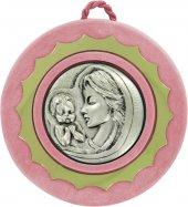 Sopraculla in argento 925 raffigurante la Madonna col bambino (rosa) Ø 9 cm