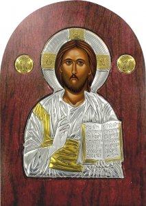 Copertina di 'Icona Cristo con libro aperto Greca a forma di arco in argento con dettagli in oro e cristalli - 20 x 15 cm'