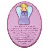 """Icona ovale rosa """"Padre Nostro"""" per bambini - dimensioni 15,5x21 cm"""
