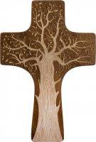 Croce in legno sagomato con Albero della Vita - altezza 30 cm