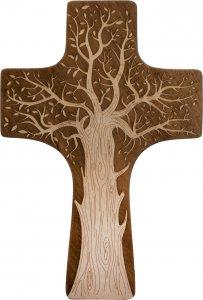 Copertina di 'Croce in legno sagomato con Albero della Vita - altezza 30 cm'