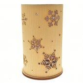 Immagine di 'Portacandela in legno con fiocchi di neve - altezza 14 cm'