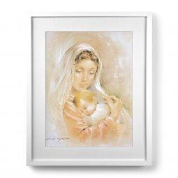 """Copertina di 'Quadro """"Madonna col bambino"""" rosa con passe-partout e cornice minimal - dimensioni 53x43 cm'"""
