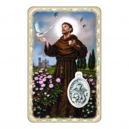 """Copertina di 'Card """"San Francesco"""" con preghiera e medaglia - (10 pezzi)'"""