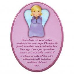 """Copertina di 'Icona ovale rosa """"Padre Nostro"""" per bambini - dimensioni 23x29 cm'"""