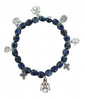 Braccialetto elastico con grani in vetro sfaccettato blu e pendenti