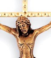 Immagine di 'Crocifisso da parete in metallo dorato con Cristo brunito - 21 cm'