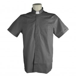 Copertina di 'Camicia clergyman grigio scuro mezza manica 100% cotone - collo 44'