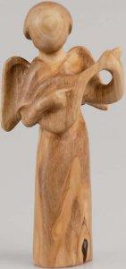 Copertina di 'Statuetta Angelo con mandolino in legno d'ulivo'