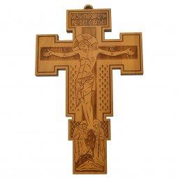 """Copertina di 'Croce in legno d'ulivo da appendere """"Gesù nazareno re dei giudei"""" - dimensioni 26x16 cm'"""