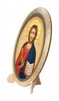 """Immagine di 'Icona ovale in polimero con cavalletto """"Cristo Pantocratore"""" - 25 x 20 cm'"""