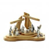 Presepe in legno d'ulivo con personaggi in metallo argentato - dimensioni 10x15 cm