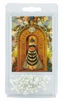 Rosario perlina bianca mm.4 con preghiera alla Madonna di Loreto