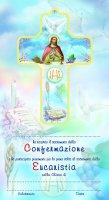Croce Comunione + Cresima con cartoncino ricordo