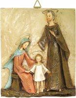 Quadro Sacra Famiglia rettangolare in resina colorata a mano - Bassorilievo - 32 x 38 cm