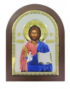 Copertina di 'Icona Cristo con libro aperto Greca a forma di arco con lastra in argento - 15 x 20 cm'