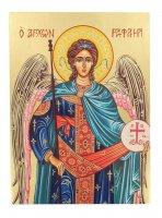 Icona Arcangelo Raffaele dipinta a mano su legno con fondo orocm 19x26