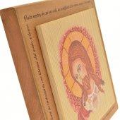 """Immagine di 'Quadretto in legno """"Cristo e il Padre nostro"""" - dimensioni 14x14 cm'"""