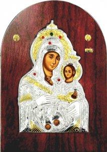 Copertina di 'Icona Madonna di Betlemme Greca a forma di arco in argento con dettagli in oro e cristalli - 20 x 15 cm'