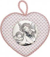 """Sopraculla a cuore rosa con placca in bilaminato d'argento """"Angelo custode"""" e carillon - altezza 11 cm"""