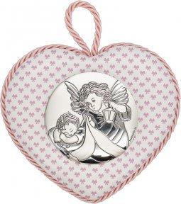 """Copertina di 'Sopraculla a cuore rosa con placca in bilaminato d'argento """"Angelo custode"""" e carillon - altezza 11 cm'"""