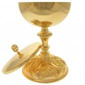 Immagine di 'Pisside dorata con base stile barocco - altezza 23 cm'