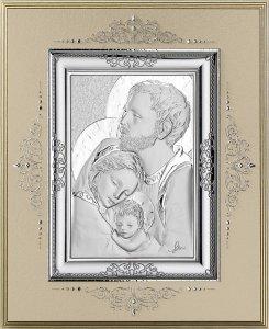 Copertina di 'Icona Sacra Famiglia in argento 925 e legno - 24 x 19,5 cm'