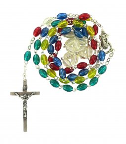Copertina di 'Rosario missionario plastica ovale legatura a macchina in metallo nichelato'