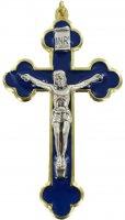 Croce in metallo dorato con smalto blu e Cristo riportato - 8 cm