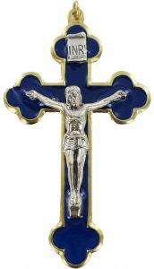Copertina di 'Croce in metallo dorato con smalto blu e Cristo riportato - 8 cm'