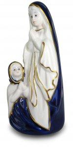 Copertina di 'Madonnina di Lourdes con Bernardette in ceramica colorata - 17 cm'