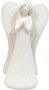 """Copertina di 'Statua in resina bianca """"Angelo con mani giunte"""" - altezza 13,5 cm'"""