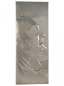 """Copertina di 'Icona in lamina d'argento """"Padre Pio"""" -  dimensioni 23,5x9,5 cm'"""