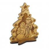 Presepe in legno d'ulivo con albero di Natale - altezza 9 cm