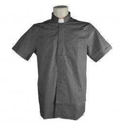 Copertina di 'Camicia clergyman grigio scuro mezza manica 100% cotone - collo 45'