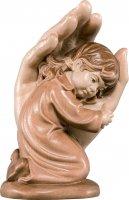 Mano protettrice da poggiare con bambina - Demetz - Deur - Statua in legno dipinta a mano. Altezza pari a 7 cm.