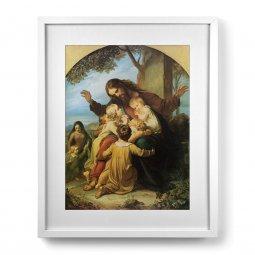 """Copertina di 'Quadro """"Gesù con i bambini"""" con passe-partout e cornice minimal'"""