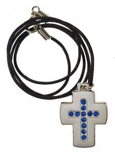 Copertina di 'Ciondolo con laccio e croce in nichel e strass blu'
