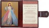 """Icona da viaggio in legno """"Gesù Misericordioso"""" con preghiera e custodia - cm 10x7"""