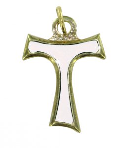 Copertina di 'Croce tau in metallo dorato con smalto bianco - 2 cm'