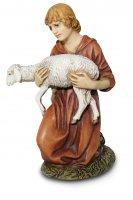 Pastore in ginocchio con agnello per presepe - cm 12