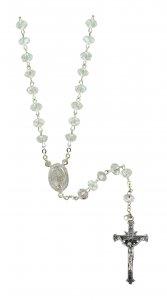 Copertina di 'Rosario cristallo bianco mm 4x6 legatura argento'