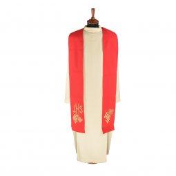 Copertina di 'Stola rossa con grappolo d'uva e cristogramma IHS ricamati'